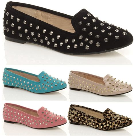 womens flat studded slippers loafers slip on pumps