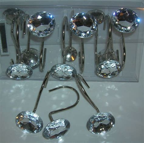 jeweled shower curtain hooks 12 decorative rhinestone rolling shower curtain hooks