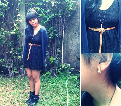 Zahira Dress 1 zahira o magnolia brown belt h m navy blue cardigan me black lace dress nine west