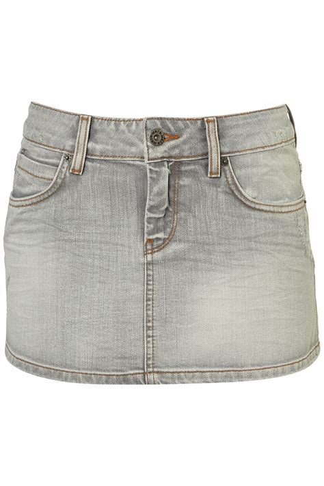 topshop denim mini skirt in gray grey lyst