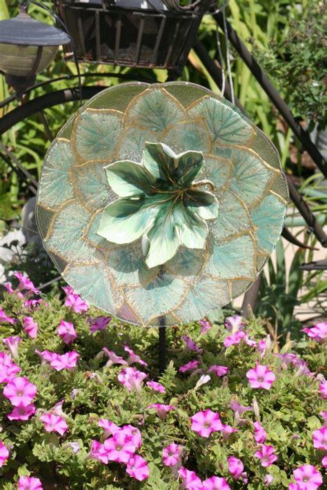 Garden Art Sun Catcher Glass Plate Flower Garden Sculpture Glass Flowers For Garden