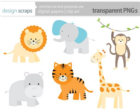 safari animals clip baby animal clipart zoo animal pencil and in color baby
