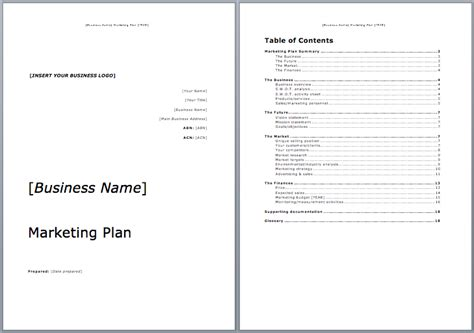 marketing plan template marketing plan template microsoft word templates