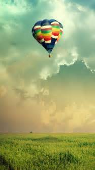 Wallpapers air ballon colorful clouds grass mobile hd wallpapers