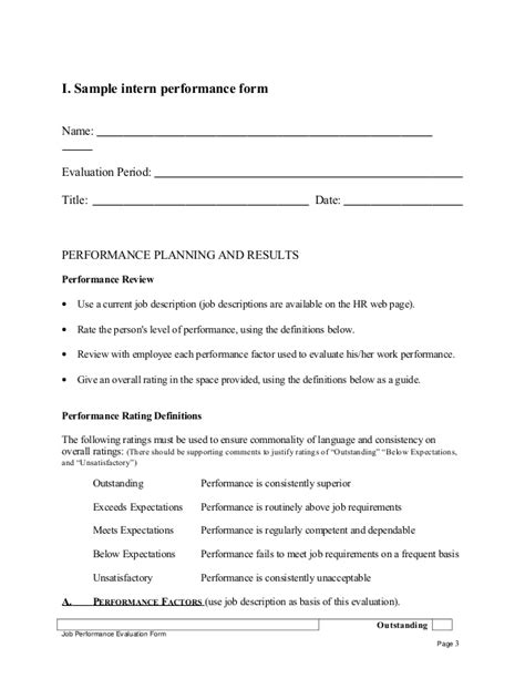 Evaluation Letter For Intern Sle Intern Performance Appraisal