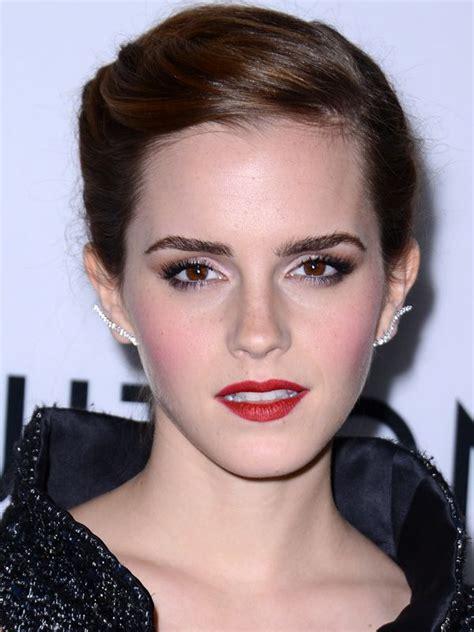 emma watson lipstick emma watson wears red lipstick with bright pink blush