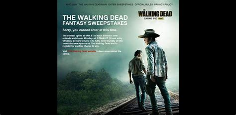 Walkingdead Com Sweepstakes - thewalkingdeadfantasysweepstakes com amc s the walking dead fantasy sweepstakes