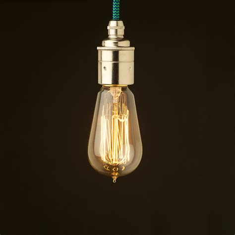 Light Pendant Fitting Edison Style Light Bulb And E27 Smooth Nickel Fitting