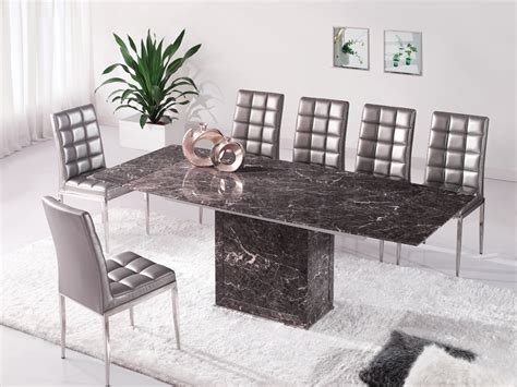 zeus brown grey marble extending dining table and 6 d215