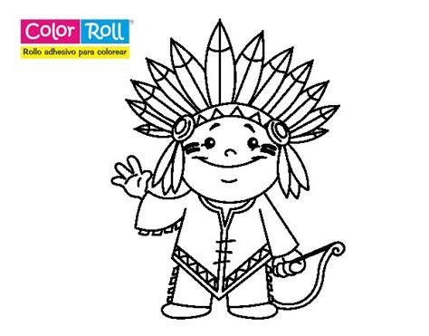 imagenes para colorear indios dibujo de ni 241 o indio color roll para colorear dibujos net