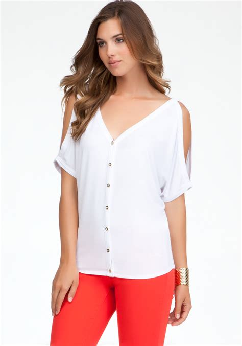 button shoulder tops bebe cold shoulder button front top in white lyst