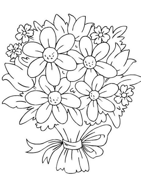 coloring pages of small flowers bouquet of flowers coloring pages flower coloring pages