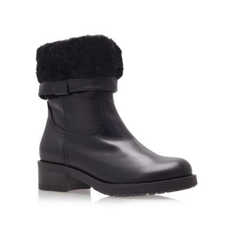 carvela kurt geiger wide low heel calf boots in black lyst