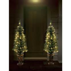 Holiday time christmas decor pre lit 2 pack 3 5 artificial porch tree