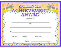 Science Certificate Template by Printable Science Achievement Awards Certificates