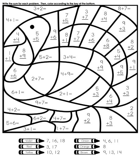 Math Coloring Pages Games | fun easy thanksgiving coloring and activities pages for