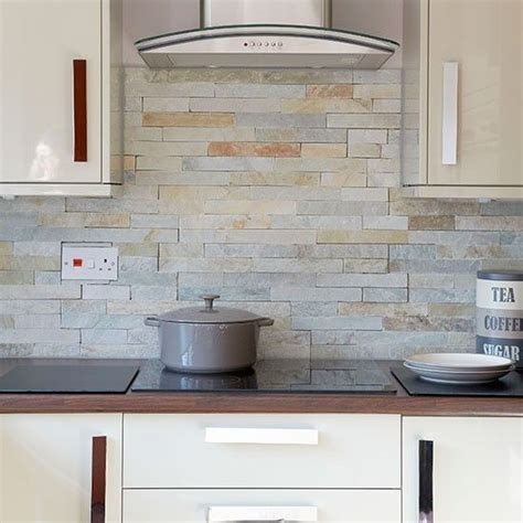 decorative ceramic wall tile backsplash with brick styled cabinet for superb outdoor kitchen natural coloured slate wall tiles are used complement this