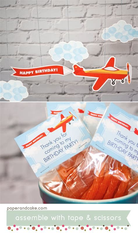 Airplane Printable Birthday Party   Paper and Cake Paper