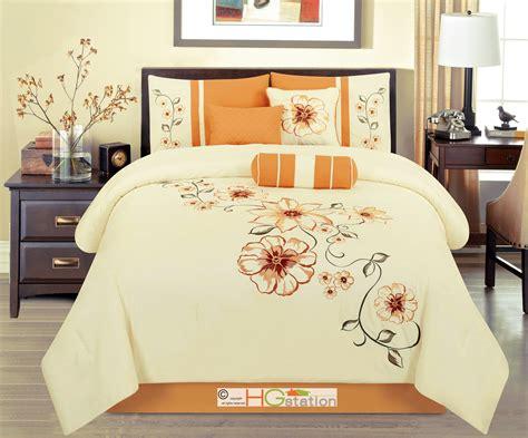 orange comforter sets queen 7 p embroidery summer floral blossom vine comforter set