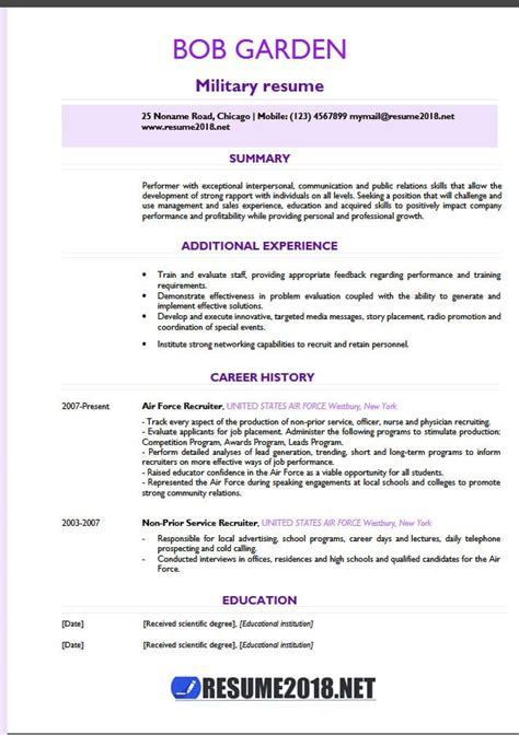 templates military cv military resume exles 2018 resume 2018