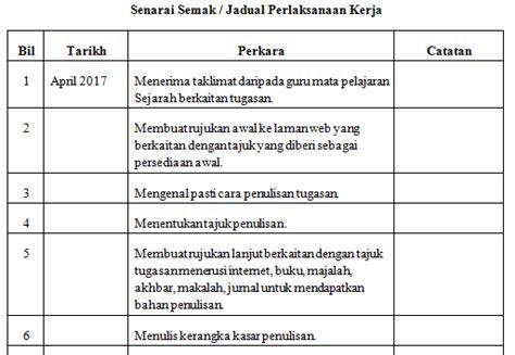 format apa jadual tugasan sejarah pt3 2017 peristiwa bersejarah jadual