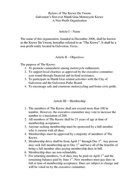 non profit bylaws template best photos of organization bylaws template non profit