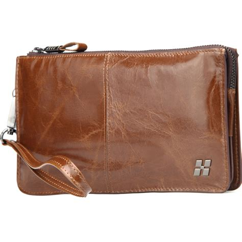 Billy Bag Travel Wallets by Hautton Mens Classic Brown Leather Travel Pouch Bag