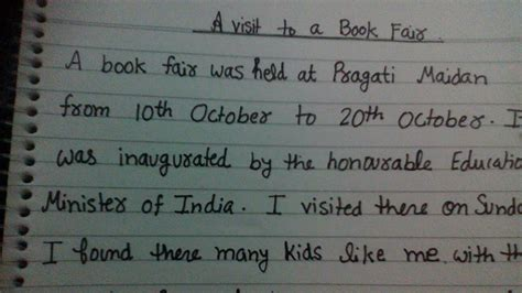 report on visit to book fair a visit to a book fair paragraph for in