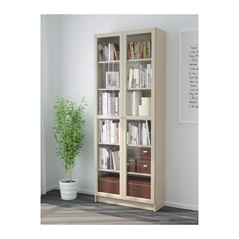 Billy Bookcase With Glass Door Beige 80x30x202 Cm Ikea Ikea Bookcases With Glass Doors