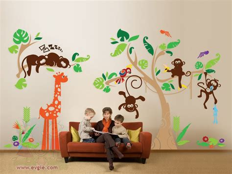 Jungle Wall Decals Nursery Wall Decals With Little Monkeys Jungle Wall Decal For Nursery