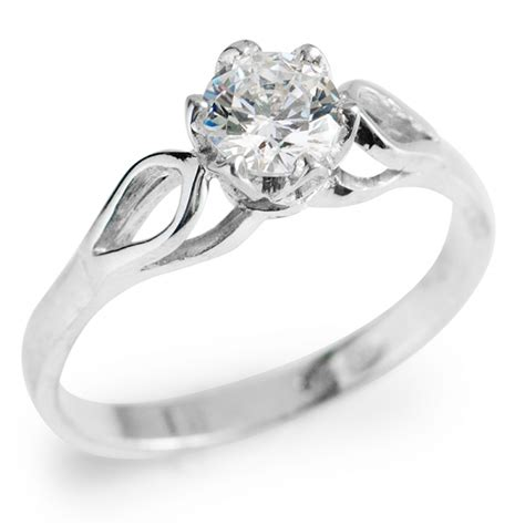 Silver Engagement Rings by Sterling Silver Ring With Cubic Zirconia Harry Fay Jewellery