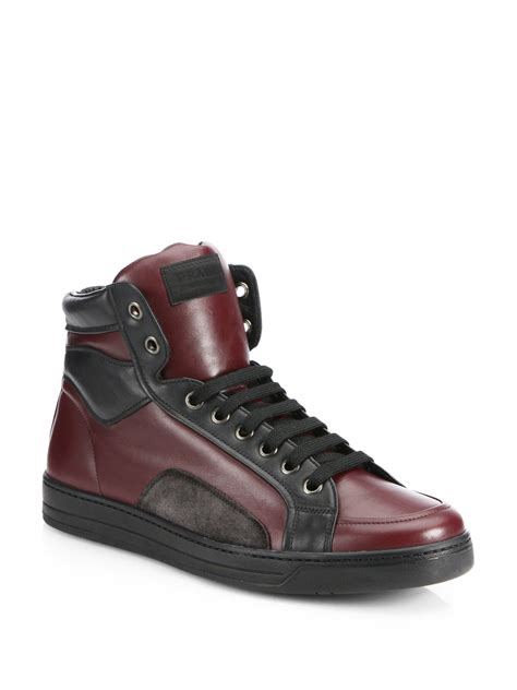 prada sneakers prada leather suede hightop sneakers in for