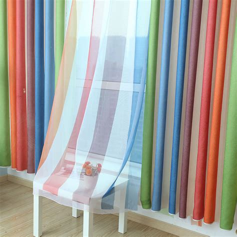 discount green striped curtain on sale for bedroom hot sale mediterranean style semi shade rainbow curtains
