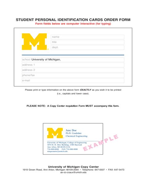 michigan id card template student personal identification cards order form