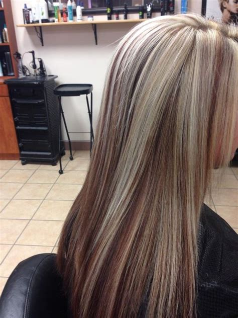 Blonde And Burgundy High And Low Lights For Short Ladies Hairstyles | low lights blonde hair and burgundy on pinterest