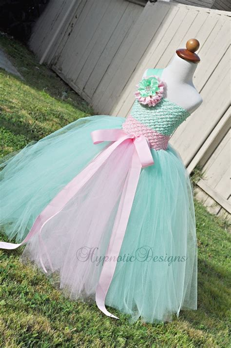 Dress Tutu Flower Green Pink princess flower tutu dress pink and mint green