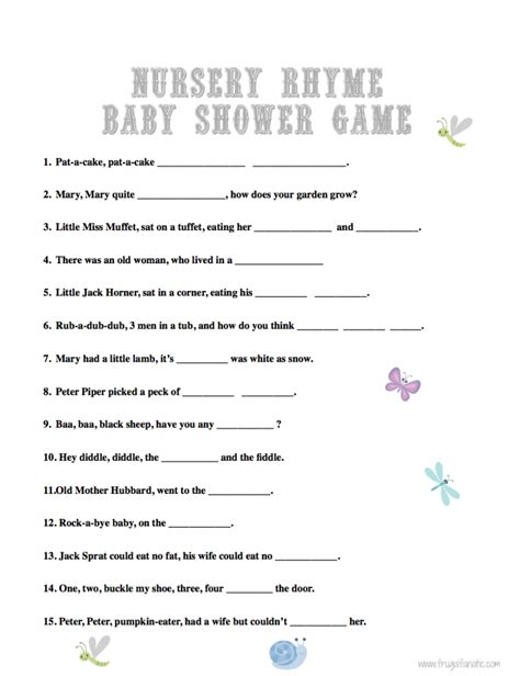 Baby Shower On Nursery Rhymes Baby Shower Nursery Rhyme Answers Sorepointrecords