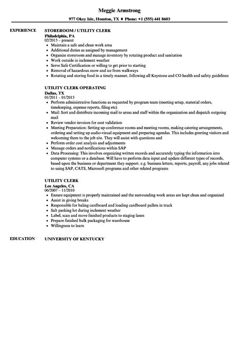 Utility Clerk Cover Letter by Registration Clerk Sle Resume Sle Resumes For High School Students With No