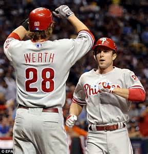 jayson werth chase utley wife hamels draws rays sting as phillies win world series