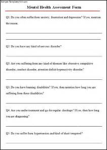 Mental Health Assessment Template by Sle Mental Health Assessment Sle Templates