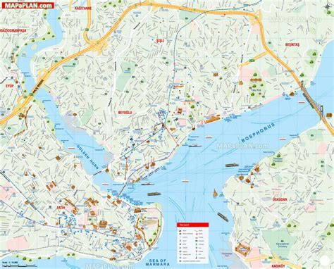 best map istanbul map detailed names travel guide