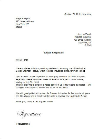 Resignation Letter Leaving For Another by Resignation Letter Leaving For Another Country Resignation Letter