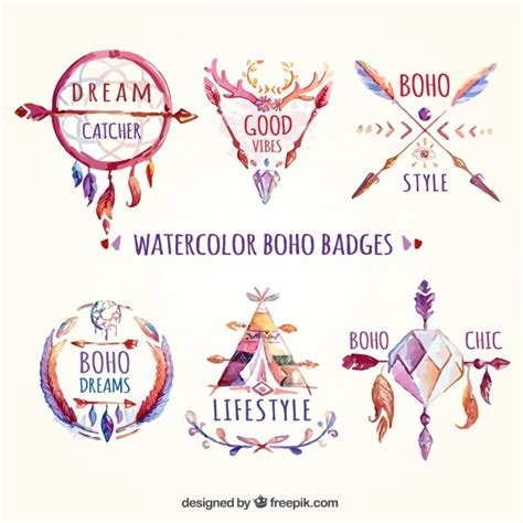 free vector watercolor bohemian feather pattern download watercolor boho badges vector free download