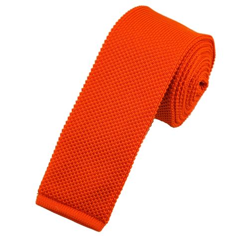 knitted orange tie plain bright orange knitted tie by buck from