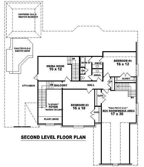 rec room floor plans vaulted rec room and a media room 58250sv 1st floor