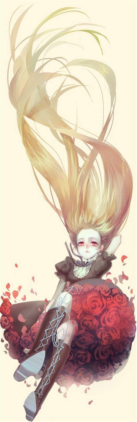 Anime Art Falling Anime Art Beautiful Pictures Girl Long Hair Rose Falling