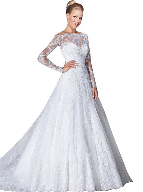 vernassa a line bridal dresses long sleeves off the
