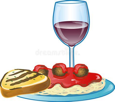 clipart pranzo pranzo italiano degli spaghetti illustrazione di stock