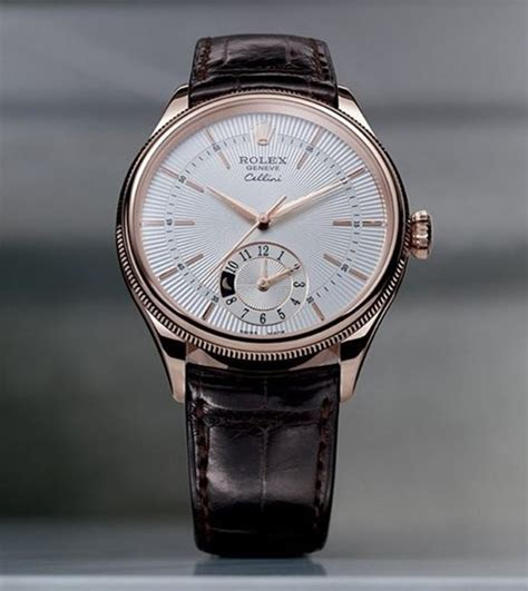 Rolex Cellini Detik Bawah Brown Silver rolex cellini dual time swiss automatic brown leather rlx00 090 high quality swiss
