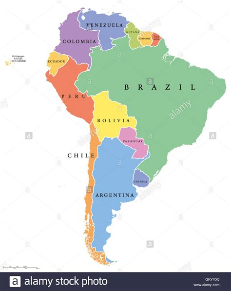 south america single states political map all countries